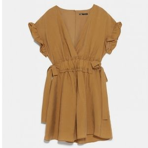 ZARA Ruffled & Cinched Waistband Flounce Mini Dres